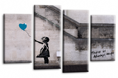 Banksy Canvas Wall Art Picture Print Teal Balloon Girl Hope